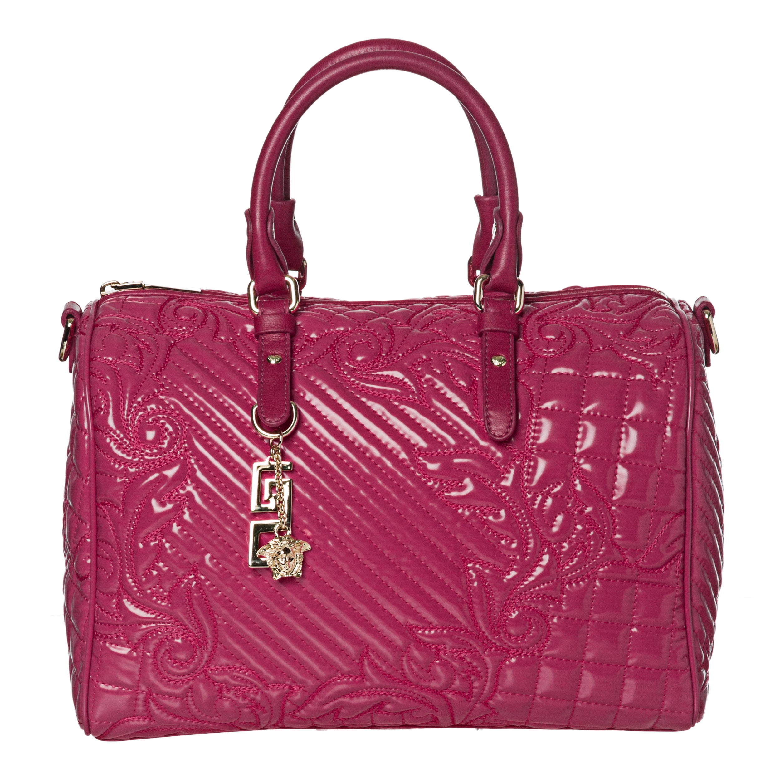 Shop Versace Fuchsia Patent Leather Stitched Satchel - Free Shipping Today  - Overstock.com - 6789808 dd1e9c86ba44b