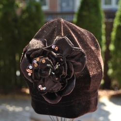 Bellarisa Designs Velvet Stretch Beanie Hat With Flower