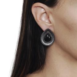 Journee Collection Gunmetal Rhinestone Acrylic Necklace Earring Set