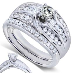 Annello by Kobelli 14k White Gold 1ct TDW Diamond Bridal Rings Set (H-I, I1-I2)
