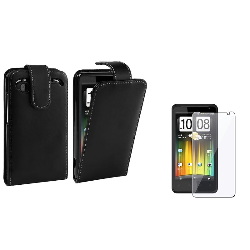 Black Leather Case/ Screen Protector for HTC Radar 4G