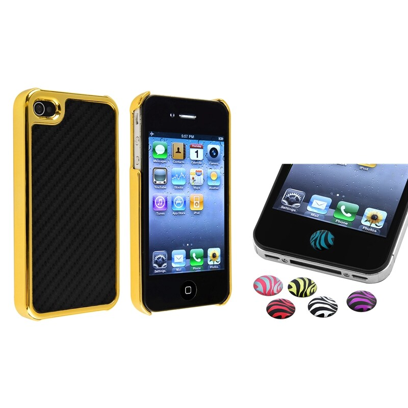 Black Carbon Fiber Case/ HOME button Stickers for Apple iPhone 4/ 4S