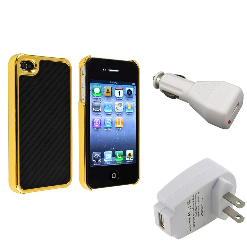 Black Carbon Fiber Case/ Travel/ Car Charger for Apple iPhone 4 4S