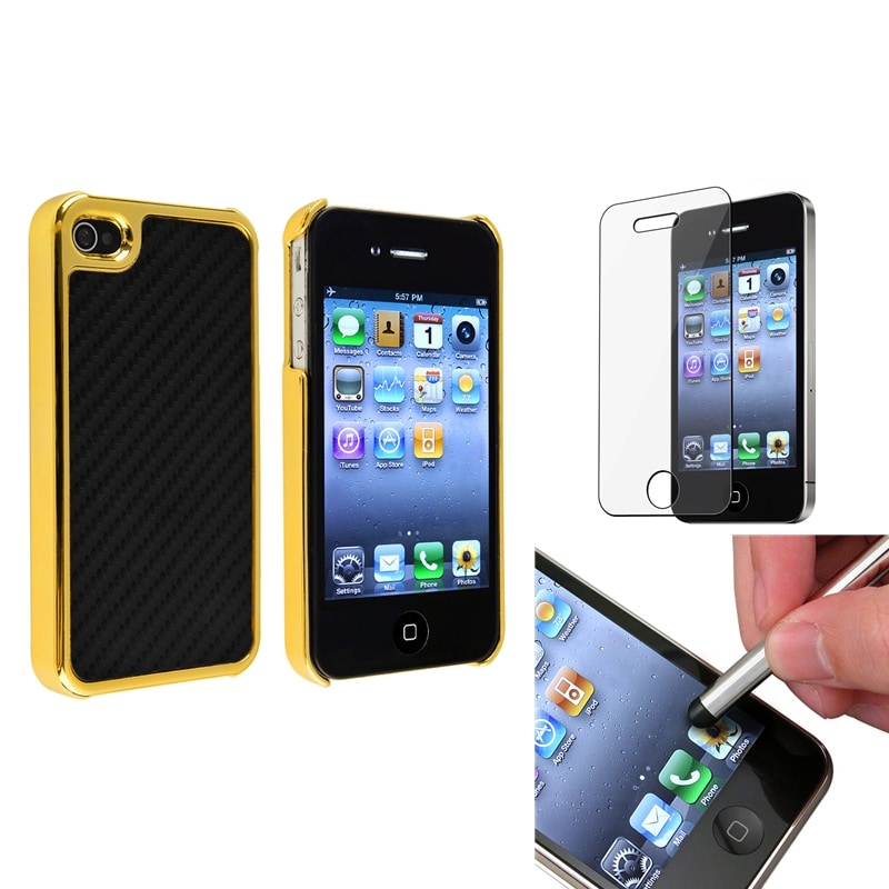 Black Carbon Fiber Case/ Stylus/ LCD Protector for Apple iPhone 4/ 4S