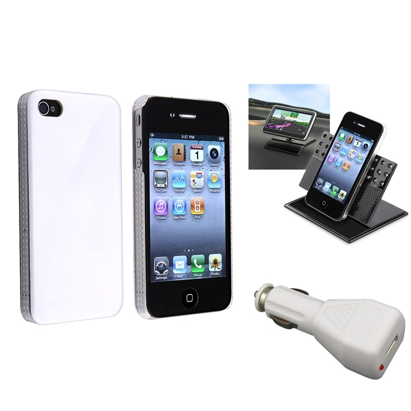 White Shiny Case/ Mounted Holder/ Car Charger for Apple iPhone 4/ 4S