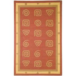 Safavieh Hand-hooked Geo Rust Wool Rug (8'9 x 11'9)