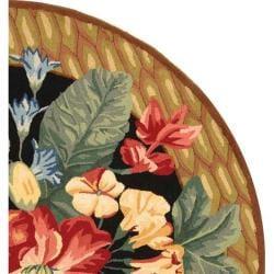 Safavieh Hand-hooked Chelsea Botanical Black Wool Rug (4' Round) - Thumbnail 1