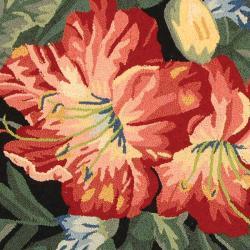 Safavieh Hand-hooked Chelsea Botanical Black Wool Rug (4' Round) - Thumbnail 2