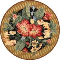 Safavieh Hand-hooked Chelsea Botanical Black Wool Rug - 4' x 4'