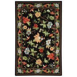 Safavieh Hand-hooked Chelsea Gardens Black Wool Rug (6' x 9')