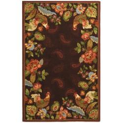 Safavieh Hand-hooked Chelsea Roosters Maroon Wool Rug (7'6 x 9'9)