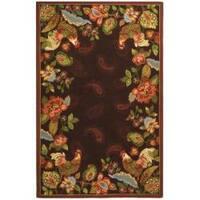 Safavieh Hand-hooked Chelsea Roosters Maroon Wool Rug - 7'6 x 9'9