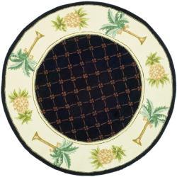Safavieh Hand-hooked Pineapples Black Wool Rug (4' Round)