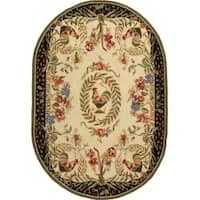 """Safavieh Hand-hooked Rooster and Hen Cream/ Black Wool Rug - 7'6"""" x 9'6"""""""