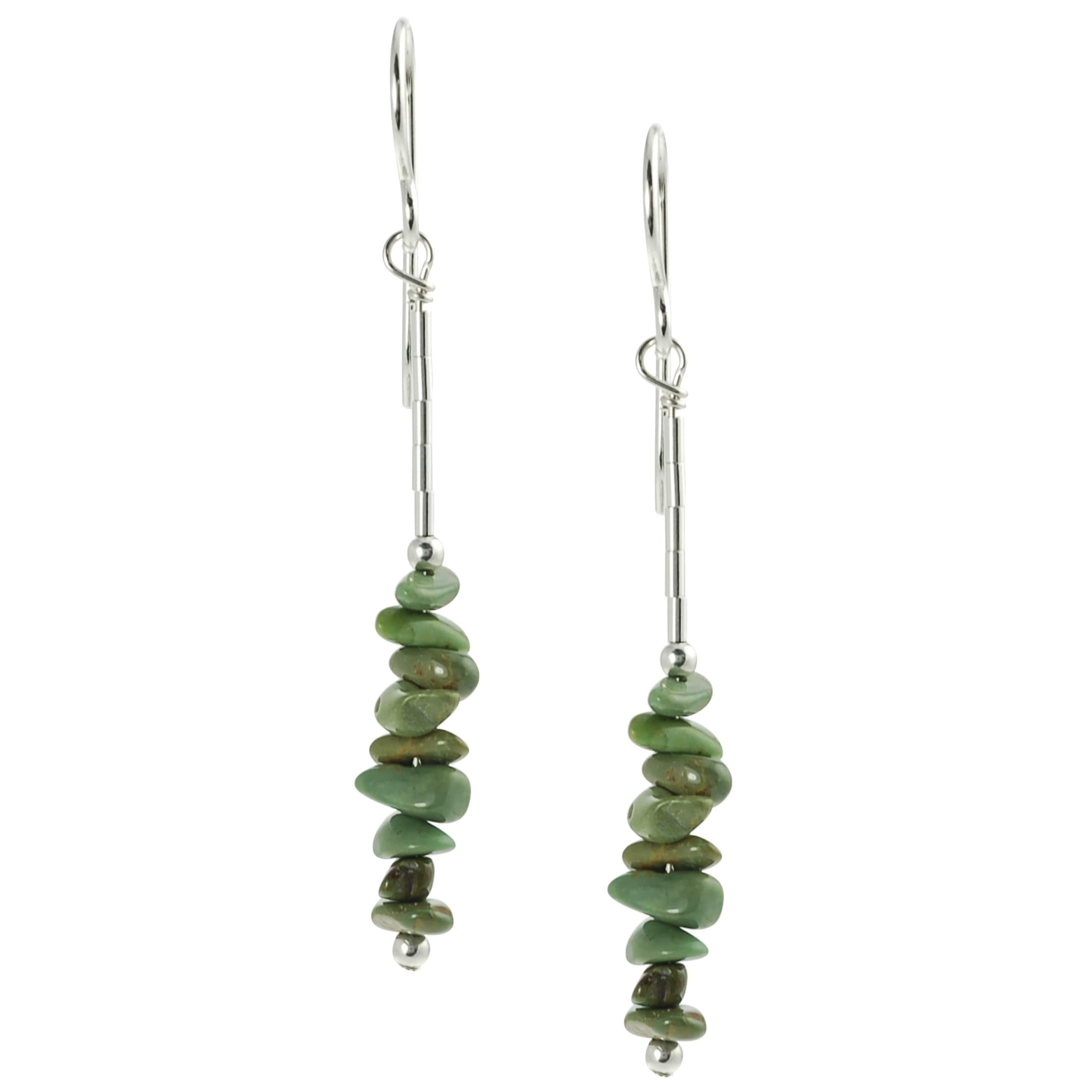 Journee Sterling Silver Genuine Green Turquoise Handcrafted Earrings