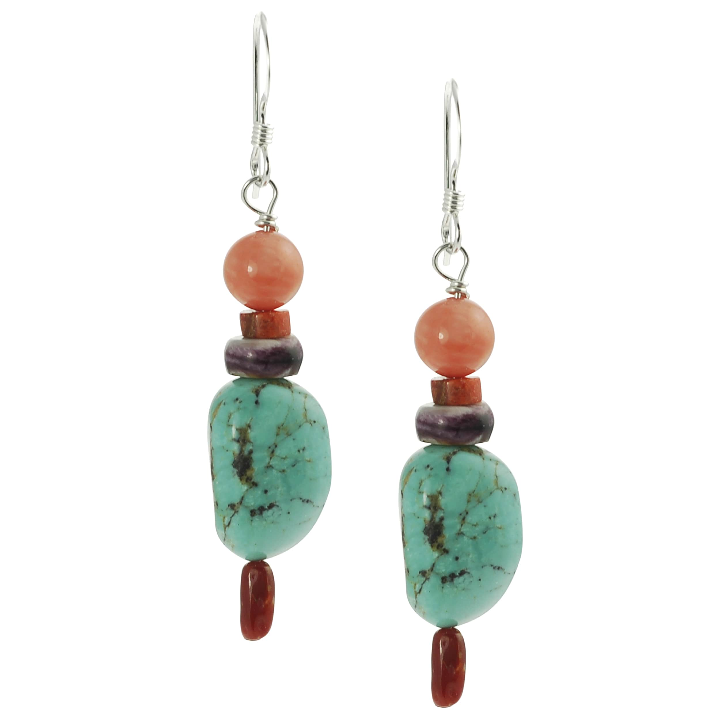 Journee Sterling Silver Genuine Turquoise and Coral Bead Earrings