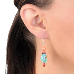 Journee Sterling Silver Genuine Turquoise and Coral Bead Earrings - Thumbnail 2