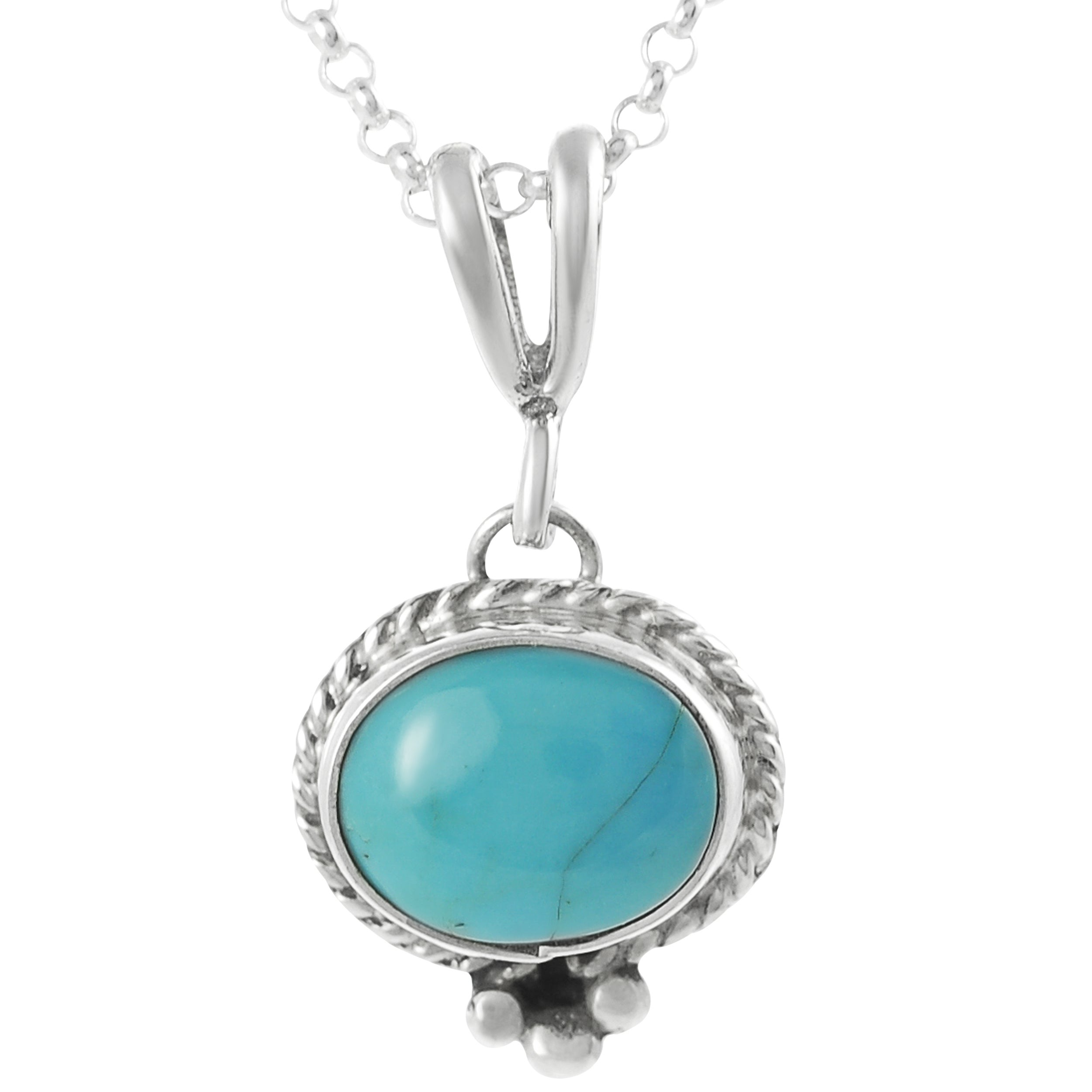 Journee Sterling Silver Genuine Turquoise Handcrafted Necklace