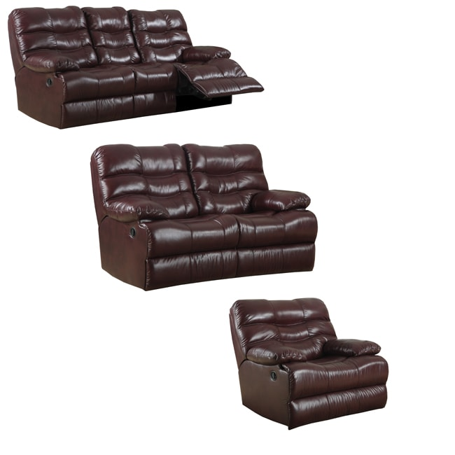 Cameron Burgundy Leather Reclining Sofa Loveseat And Recliner Glider Free Shipping Today