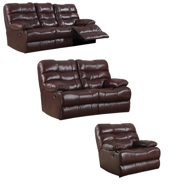 Cameron Burgundy Leather Reclining Sofa Loveseat And