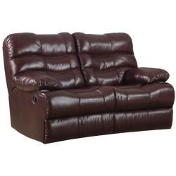 Cameron Burgundy Italian Leather Reclining Sofa and Loveseat - Thumbnail 1