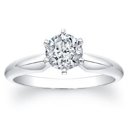 Victoria Kay 14k White Gold Certified 1ct TDW 6-Prong Diamond Engagement Solitaire Ring
