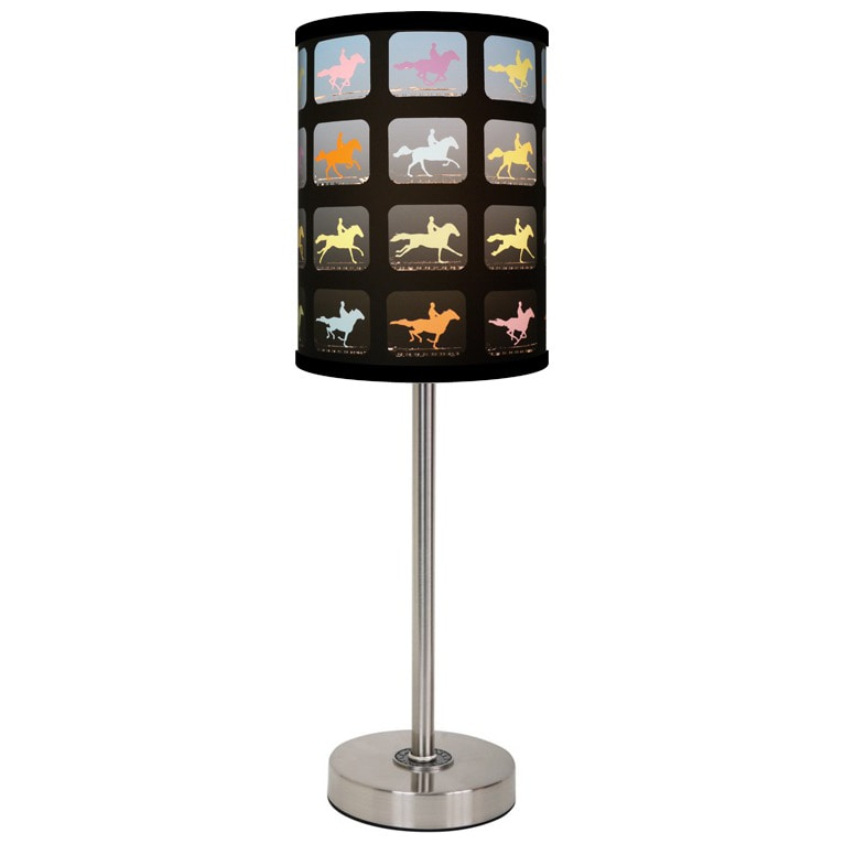 Lamp-In-A-Box Horse's Film Brushed Nickel Table Lamp