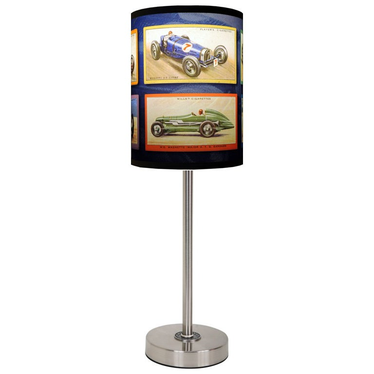 Lamp-In-A-Box Vintage Race Cars Brushed Nickel Table Lamp