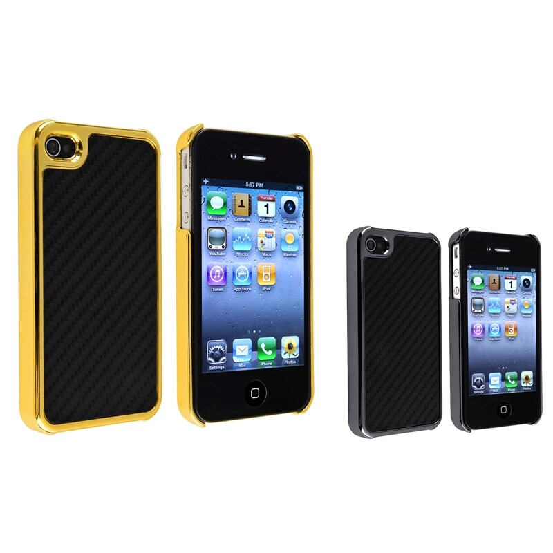 Silver Side/ Golden Side Carbon Fiber Case for Apple iPhone 4/ 4S - Thumbnail 0
