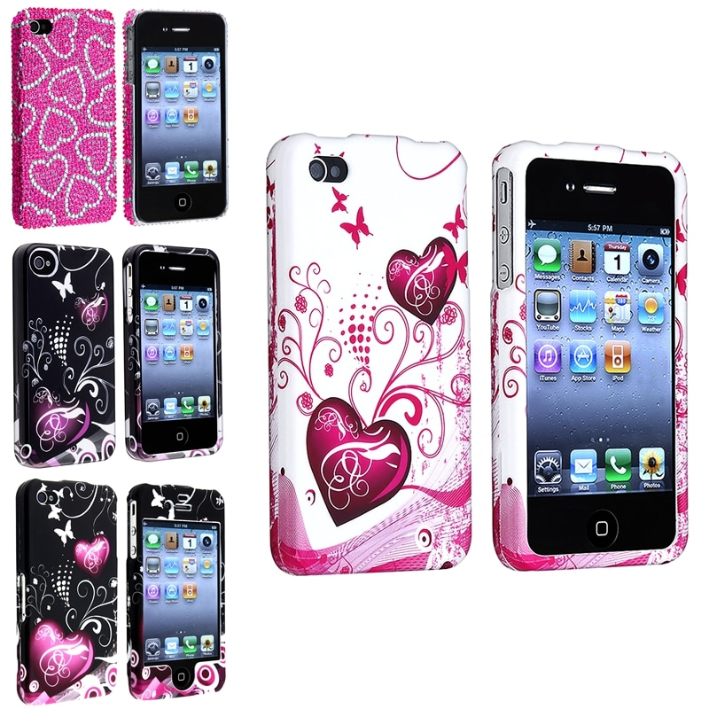 Snap-on Heart/ Butterfly Case Variety Set for Apple iPhone 4/ 4S