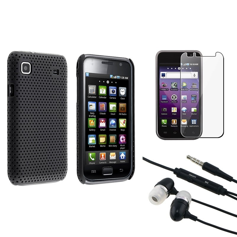 Black Case/ Headset/ LCD Protector for Samsung Galaxy S 4G T959v