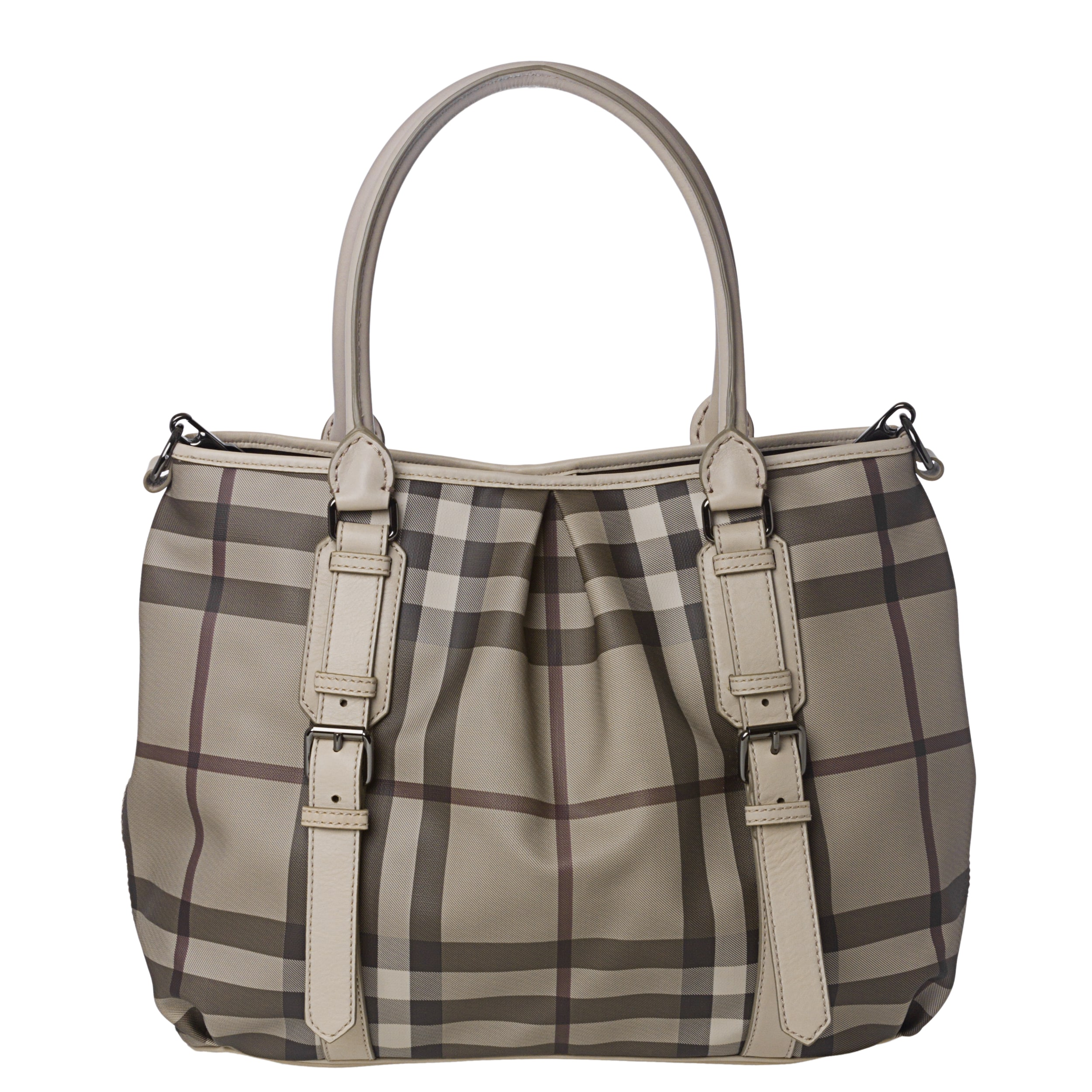 079979ca5199 Shop Burberry Medium Smoked Check Canvas  Leather Tote Bag - Ships ...