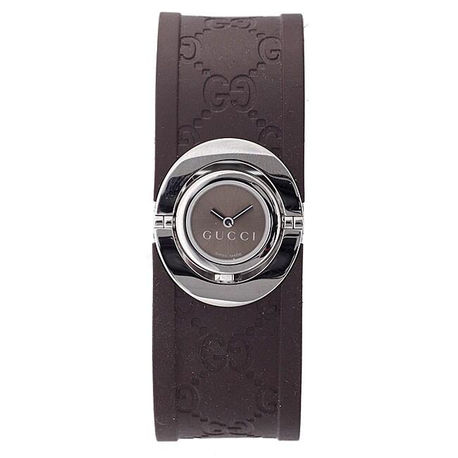 Gucci Women's Brown Twirl Rubber Watch