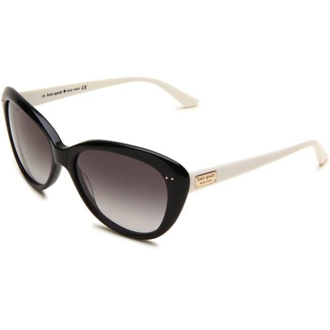 Kate Spade Women's 'Angelique FU8' Black/ Cream Cat Eye Sunglasses