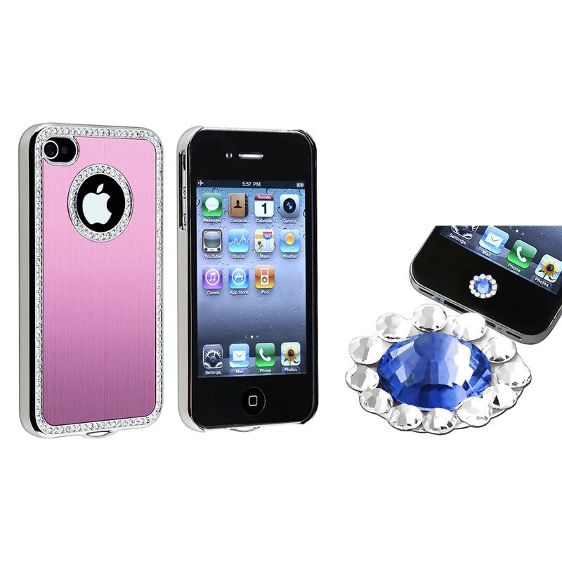 Light Pink Bling Case/ Blue Diamond Sticker for Apple iPhone 4/ 4S