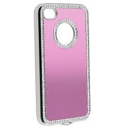 Light Pink Bling Case/ Blue Diamond Sticker for Apple iPhone 4/ 4S - Thumbnail 1