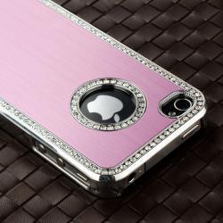 Light Pink Bling Case/ Blue Diamond Sticker for Apple iPhone 4/ 4S - Thumbnail 2