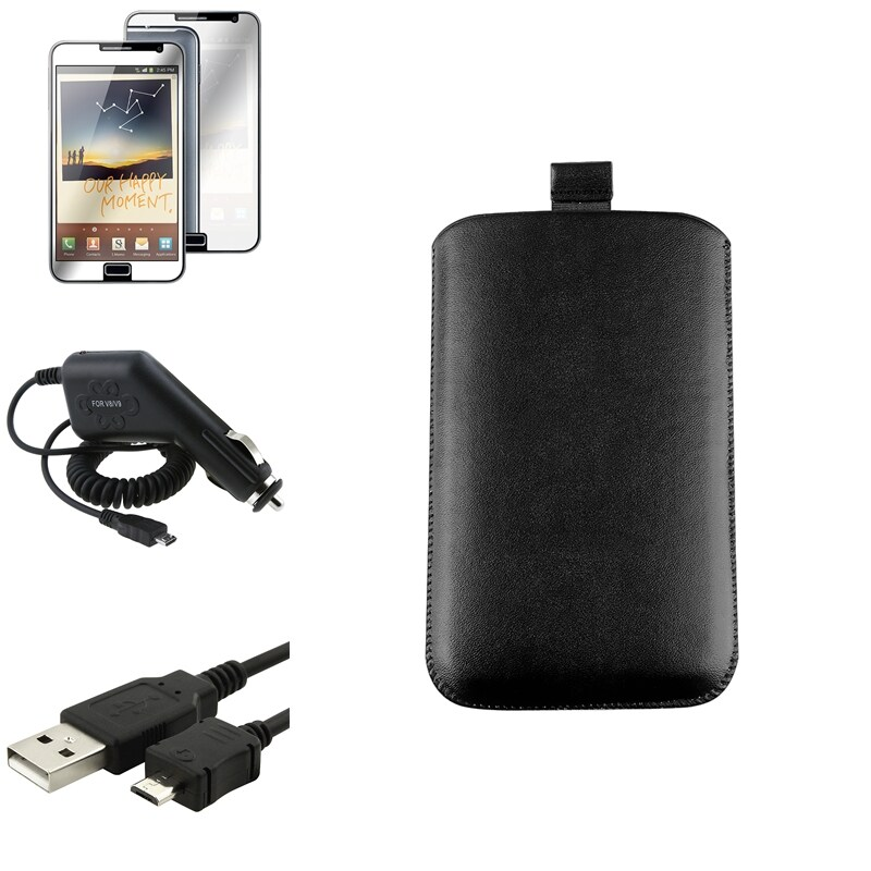 Pouch/ LCD Protector/ Car Charger/ Cable for Samsung Galaxy Note N7000