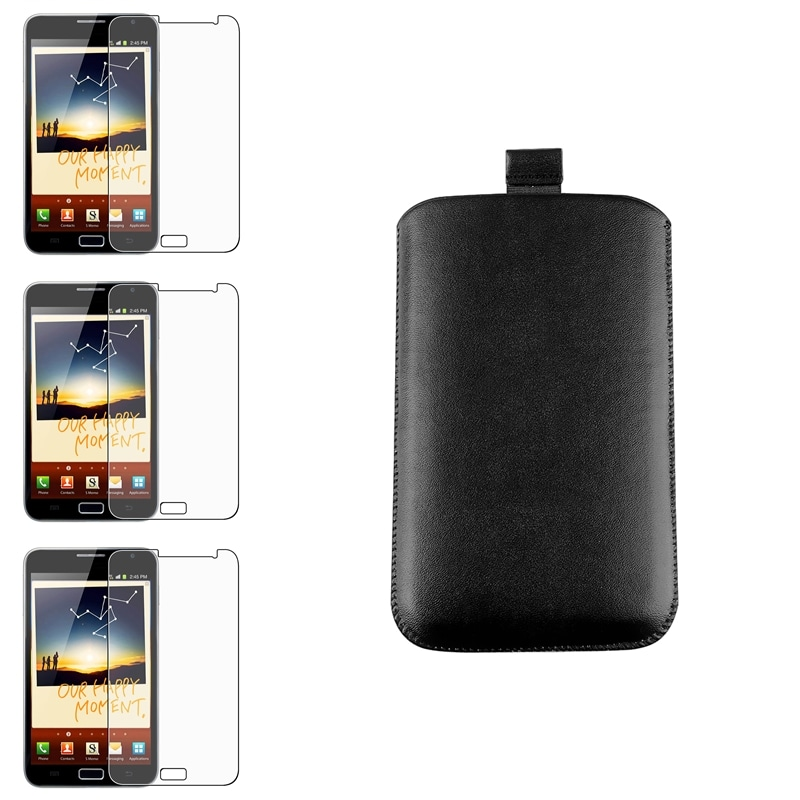 Black Leather Pouch/ Screen Protectors for Samsung Galaxy Note N7000