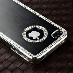 Black Bling Case/ Blue Diamond Sticker for Apple iPhone 4/ 4S - Thumbnail 1