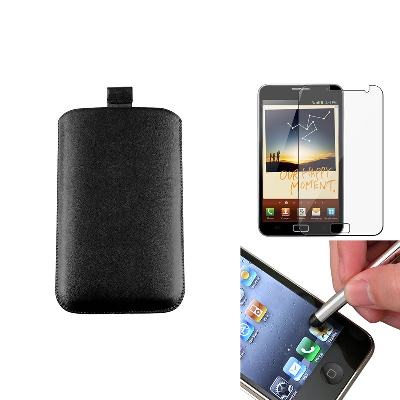 Black Pouch/ LCD Protector/ Stylus for Samsung Galaxy Note N7000