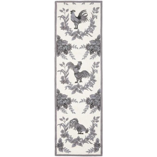 Safavieh Hand-hooked Hens Grey Wool Rug (2'6 x 10')