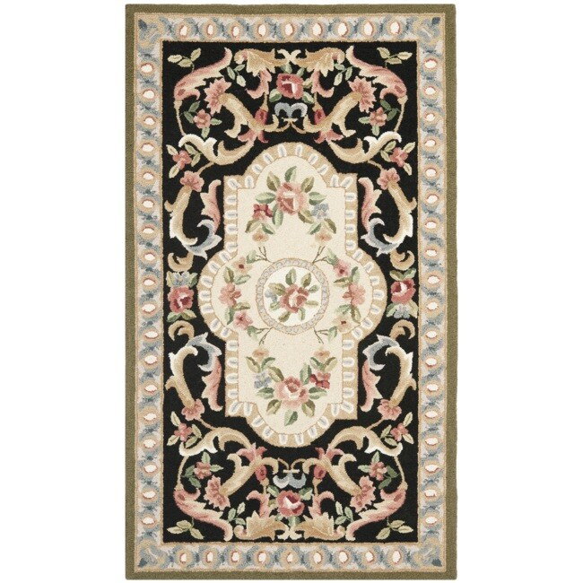 Safavieh Hand-hooked Aubusson Black Wool Rug (2'6 x 4')