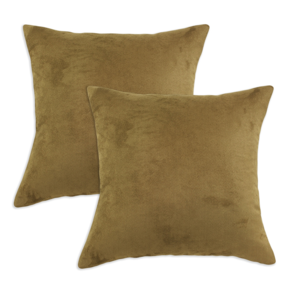 Passion Suede Laurel Green Soft S-backed 17x17 Fiber Pillows (Set of 2)