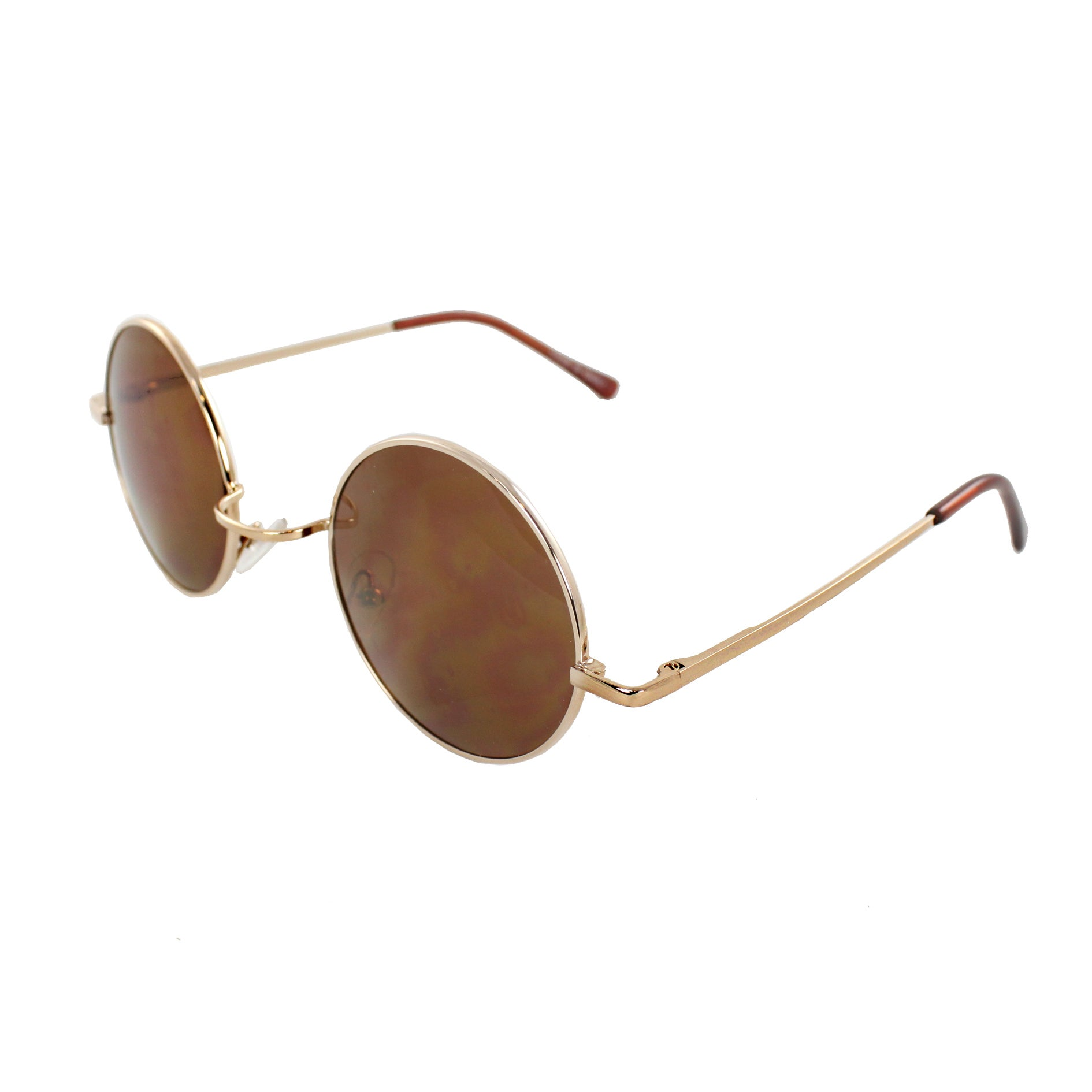 Retro Round Sunglasses Gold Frame and Brown Lenses for Women and Men - Thumbnail 0