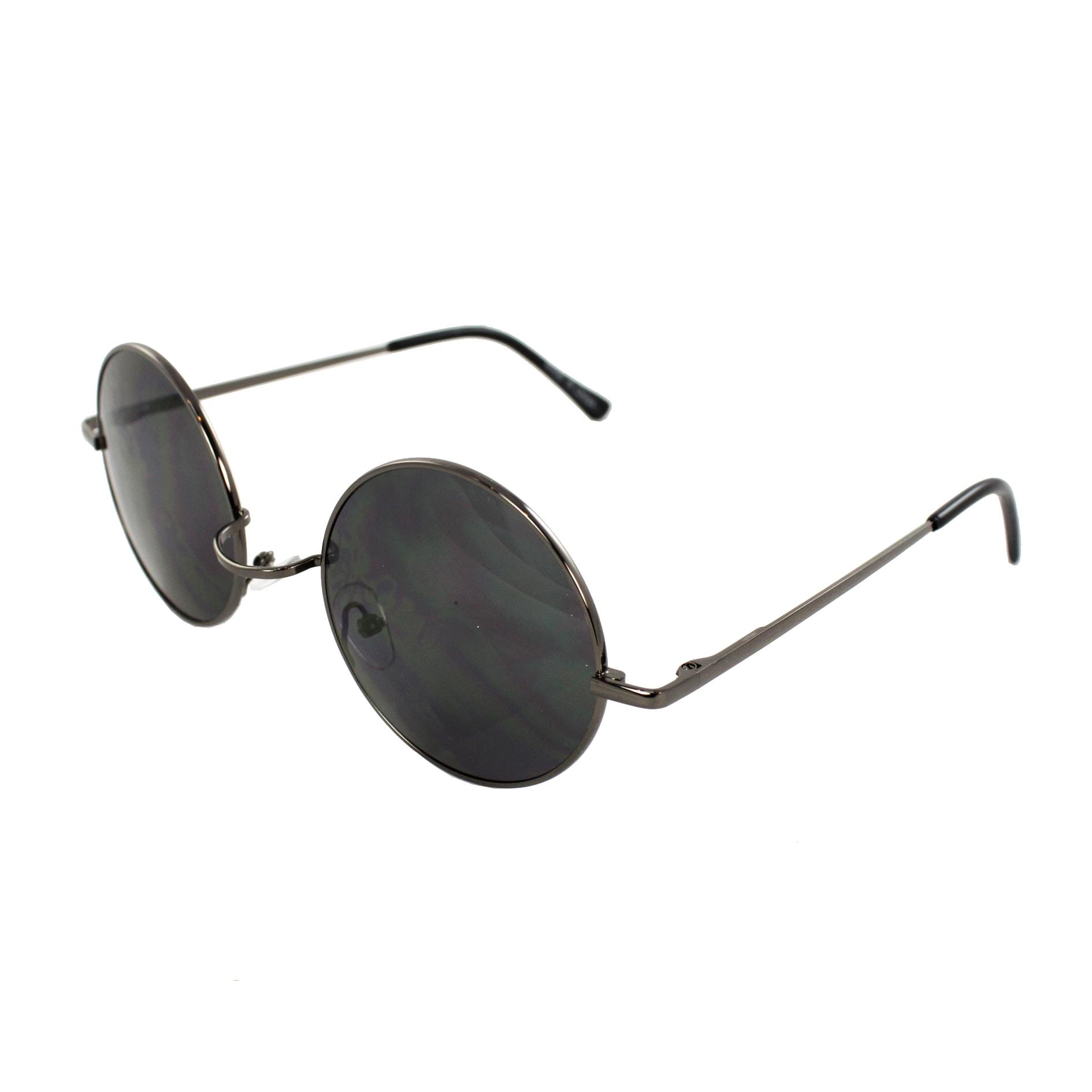 Retro Round Sunglasses Black Frame and Black Lenses for Women and Men