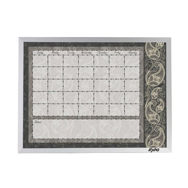 Expo Calendar Dry Erase Board with Paisley Pattern