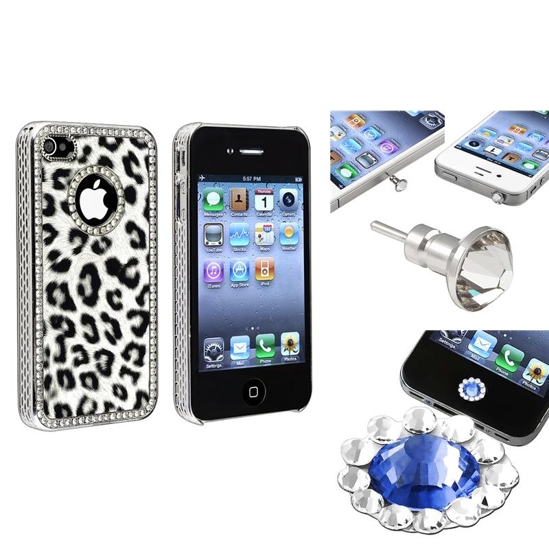 Leopard Case/ Home Button Sticker/ Dust Cap for Apple iPhone 4/ 4S