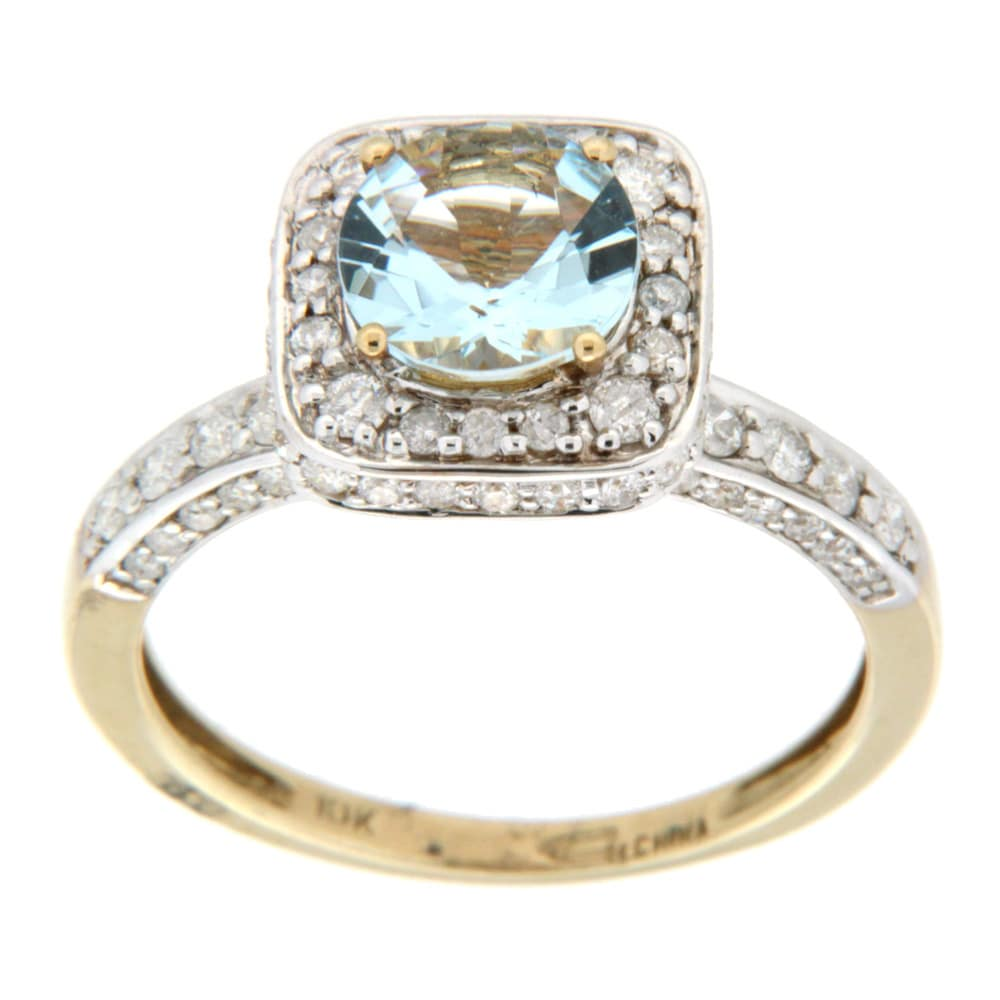 D'sire 10k Yellow Gold Aquamarine and 3/4ct TDW Diamond Ring (H-I, I1-I2)