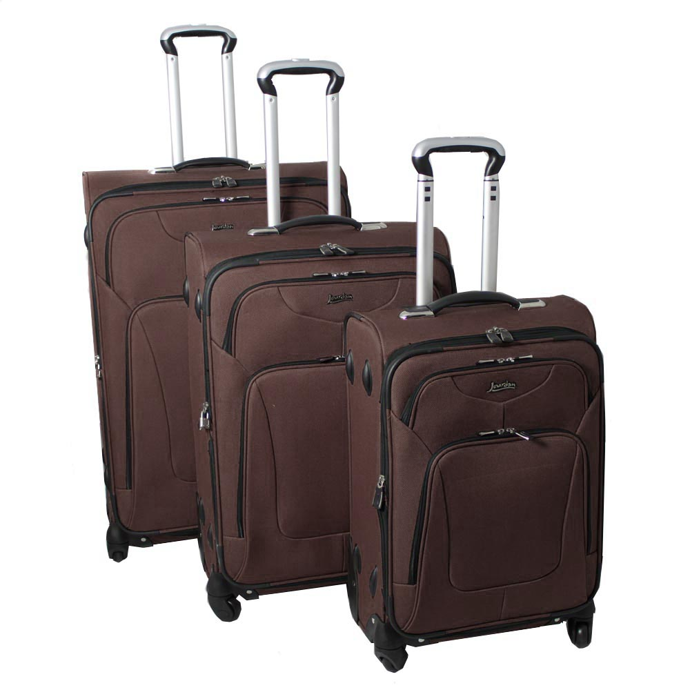 Jourdan Hassle Free Lightweight 3-piece Tan Expandable Spinner Luggage Set
